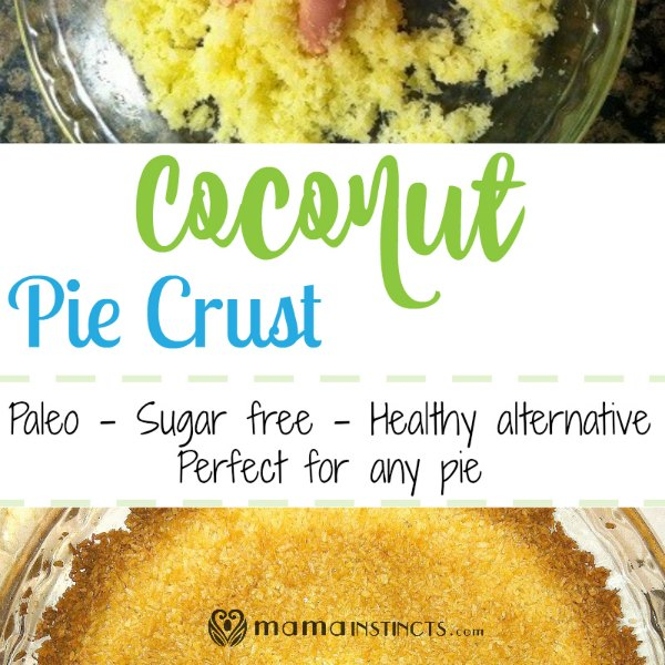 Try this healthy alternative to regular pie crust. It only uses 2 ingredients and it tasted delicious! #paleo #sugarfree #healthy #piecrust #coconutpiecrust #coconut