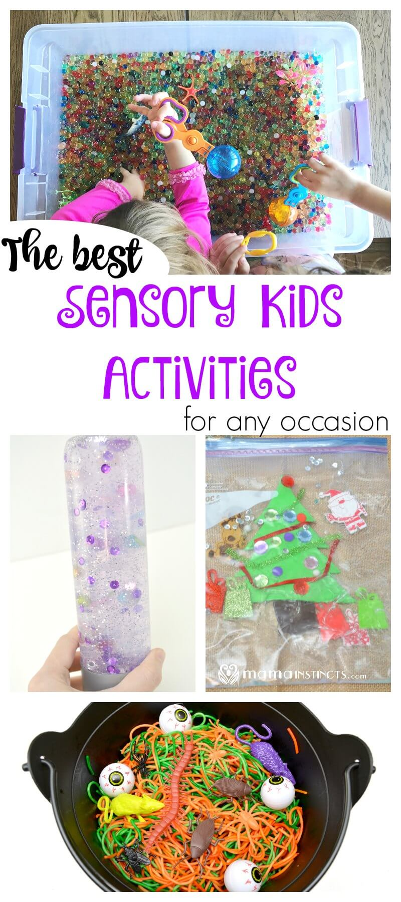 Sensory kid activities are great for child development and very affordable to make. Try these 4 ways to create a sensory activity your child will absolutely love: sensory bag, sensory bottle, sensory spaghetti and water bead sensory play.
